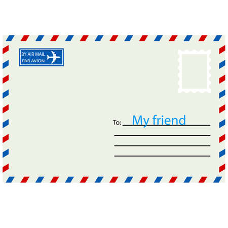 White  envelope with stamp. Vector illustration. Vector
