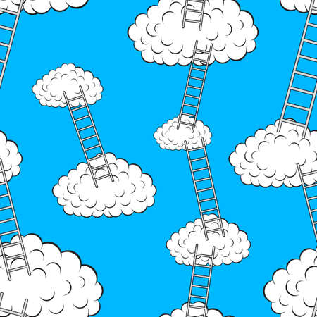 Clouds with stairs, seamless wallpaper, vector illustration Stock Vector - 16114295