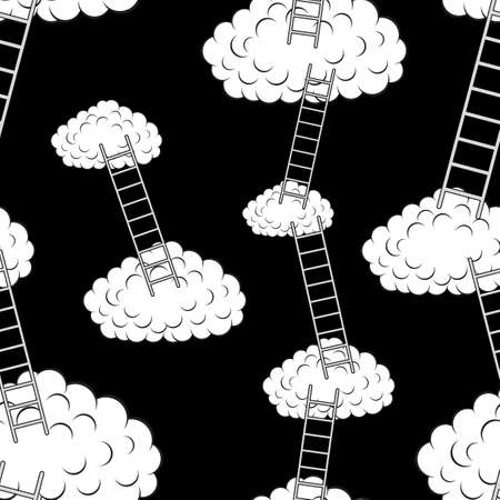 Clouds with stairs, seamless wallpaper, vector illustration Stock Vector - 16114294