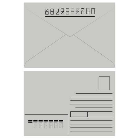White  envelope with stamp  Vector illustration  Stock Vector - 16114272