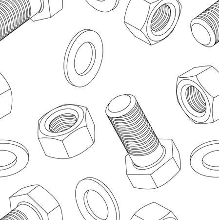 shop floor: Stainless steel bolt and nut seamless wallpaper, vector illustration