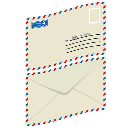White  envelope with stamp  Vector illustration Stock Vector - 16114268