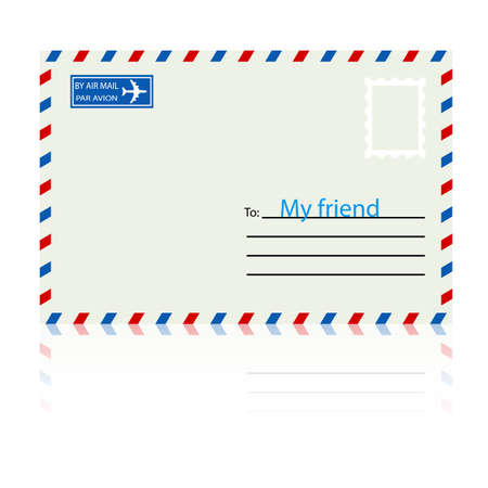 White  envelope with stamp  Vector illustration  Vector