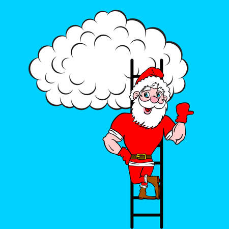 Santa Claus  coming up the stairs to cloud, vector illustration Stock Vector - 16114286