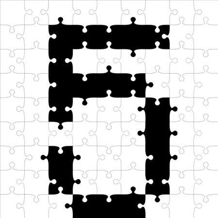 black alphabet jigsaw puzzles. Vector illustration.