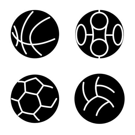 terrain de handball: Set ballons de sport. Vector illustration