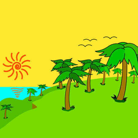 Tropical palms on the tropical island at sunset. Vector illustration. Stock Vector - 16423505