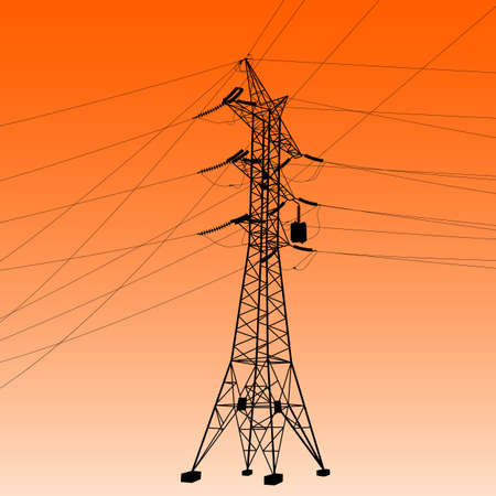Silhouette of high voltage power lines. Vector  illustration. Stock Vector - 16423445