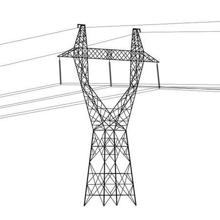 Silhouet van hoogspanningsleidingen. Vector illustratie.