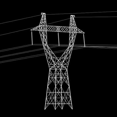 Silhouette of high voltage power lines. Vector  illustration. Stock Vector - 16423436