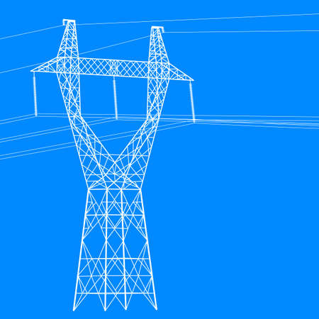Silhouette of high voltage power lines. Vector  illustration. Stock Vector - 16423439