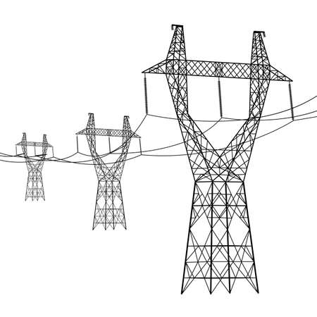 electricity pole: Silhouette of high voltage power lines. Vector  illustration.