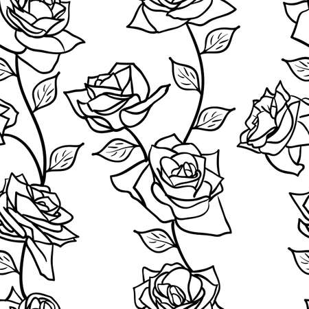 english rose: Beautiful  seamless wallpaper with rose flowers, vector illustration