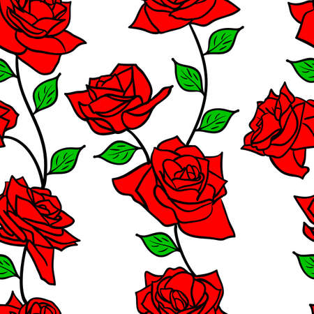 Beautiful  seamless wallpaper with rose flowers, vector illustration Vector