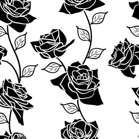 Beautiful  seamless wallpaper with rose flowers, vector illustration Stock Vector - 16423494