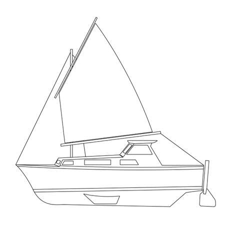 Sailing boat floating. Vector illustration. Vector