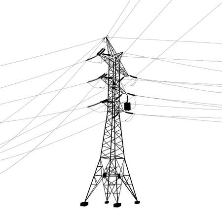 electricity pole: Silhouette of high voltage power lines  Vector  illustration