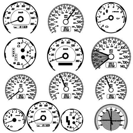 tacometro: Conjunto de veloc�metro de coche para el dise�o de carreras. Vectores