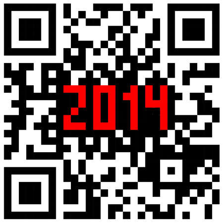 2014 New Year counter, QR code  Vector