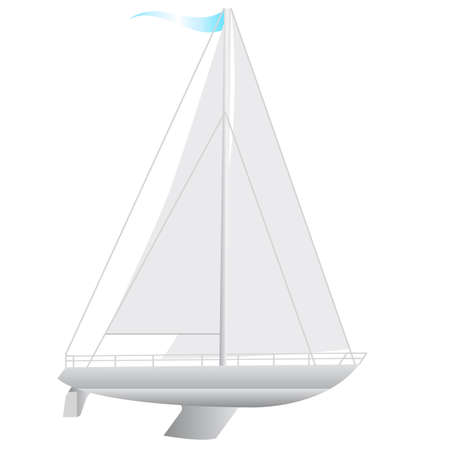 galley: Sailing boat floating. Illustration