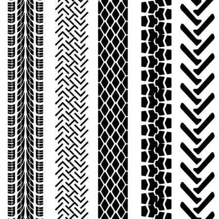 Conjunto de huellas de neumáticos detallados, Ilustración de vector