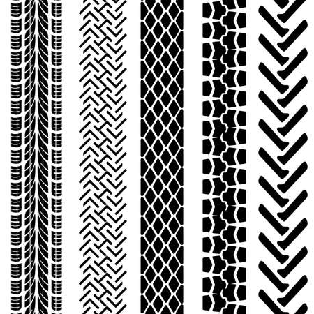 tyre tread: Set of detailed tire prints,