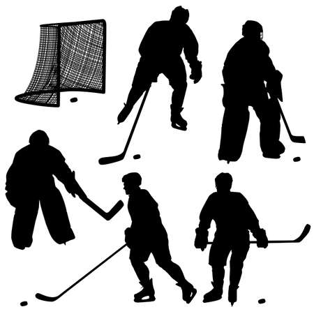 Set of silhouettes of hockey player  Isolated on white Stock Vector - 16719616