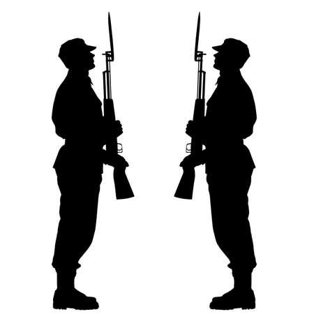 군사 퍼레이드 동안 실루엣 군인