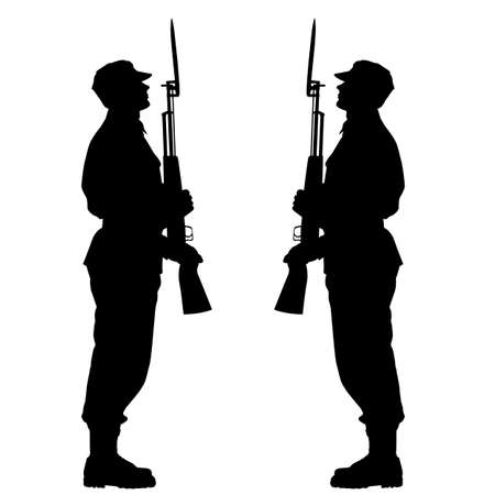 marching: Silhouette soldiers during a military parade  Illustration