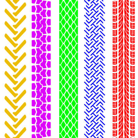 tire tread: Set of detailed tire prints
