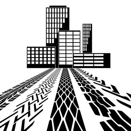 Set of detailed tire prints, leading to the building Stock Vector - 16719652