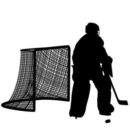 hockey goal: silhouettes of hockey player goalkeeper  Isolated on white