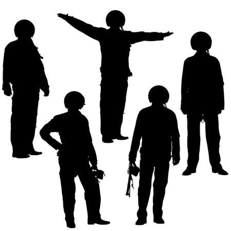 silhouette soldat: illustration de pilote militaire silhouette isol� sur fond blanc Illustration