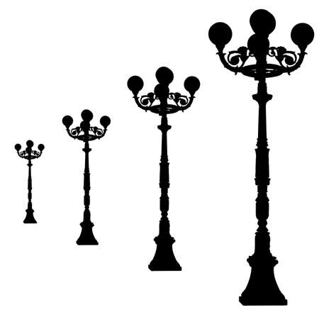 silhouettes vintage  streetlamp  illustrations  Stock Vector - 16719589