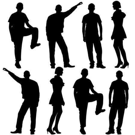 illustration of fashion people silhouette  Isolated on white   Vector