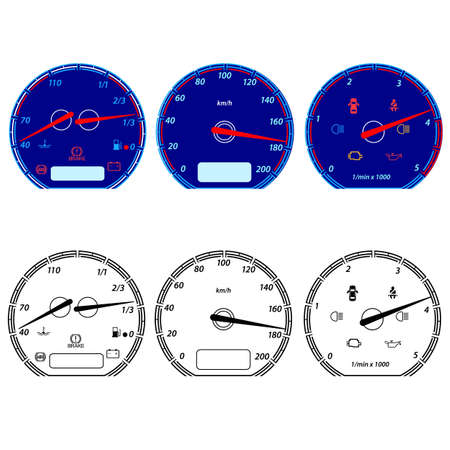 rpm: Set of car speedometers for racing design  Illustration