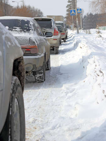Snowy road surface from the back of unrecognizable car Stock Photo - 16756099