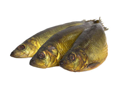 Smoked fish  isolated on white background photo