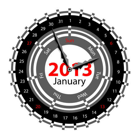 Creative idea of design of a Clock with circular calendar for 2013.  Arrows indicate the day of the week and date. January Vector