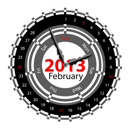 Creative idea of design of a Clock with circular calendar for 2013.  Arrows indicate the day of the week and date. February Vector