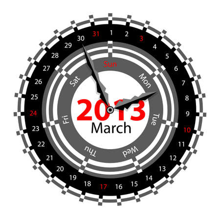 Creative idea of design of a Clock with circular calendar for 2013.  Arrows indicate the day of the week and date. March Vector