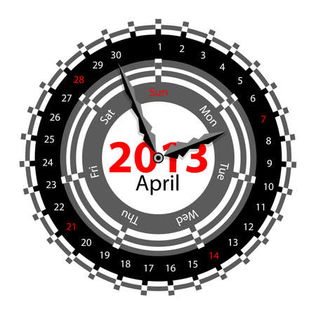Creative idea of design of a Clock with circular calendar for 2013.  Arrows indicate the day of the week and date. April Vector