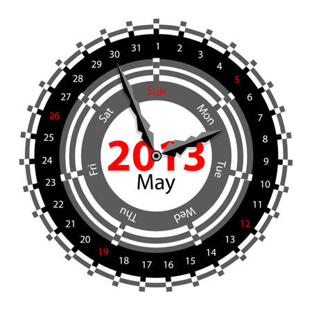 Creative idea of design of a Clock with circular calendar for 2013.  Arrows indicate the day of the week and date. May Stock Vector - 17015958
