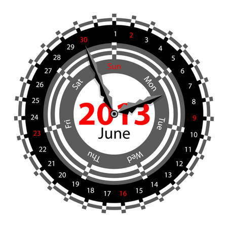 Creative idea of design of a Clock with circular calendar for 2013.  Arrows indicate the day of the week and date. June Vector