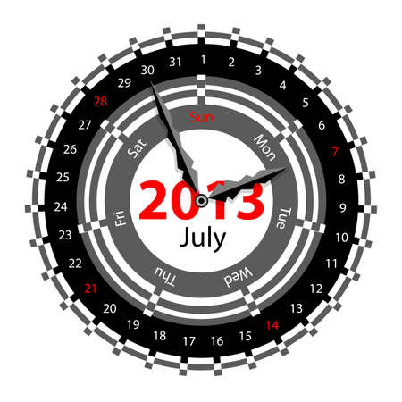 Creative idea of design of a Clock with circular calendar for 2013.  Arrows indicate the day of the week and date. July Stock Vector - 17015957