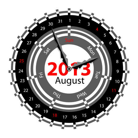 Creative idea of design of a Clock with circular calendar for 2013.  Arrows indicate the day of the week and date. August Vector