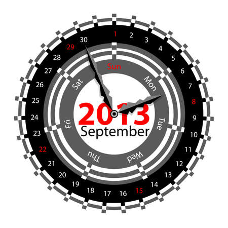 Creative idea of design of a Clock with circular calendar for 2013.  Arrows indicate the day of the week and date. September Vector