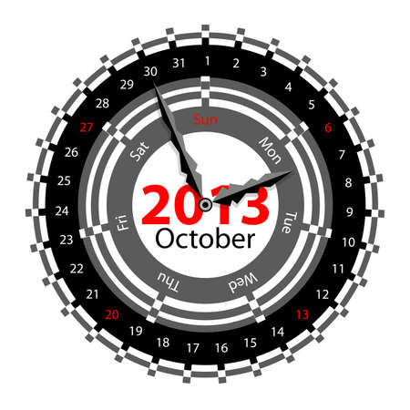Creative idea of design of a Clock with circular calendar for 2013.  Arrows indicate the day of the week and date. October Stock Vector - 17015932