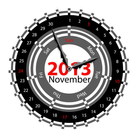 Creative idea of design of a Clock with circular calendar for 2013.  Arrows indicate the day of the week and date. November Stock Vector - 17015961