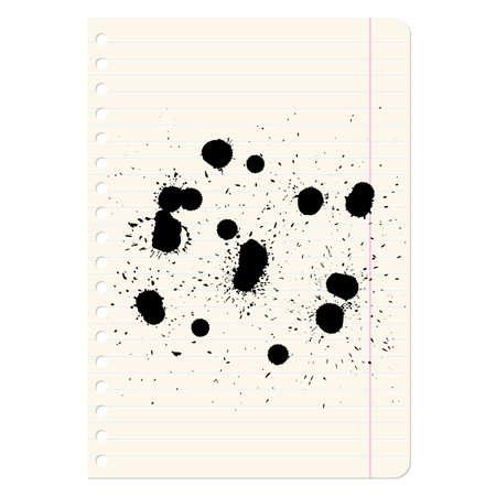 Brush blot on  exercise book in line. Vector illustration. Stock Vector - 17015931